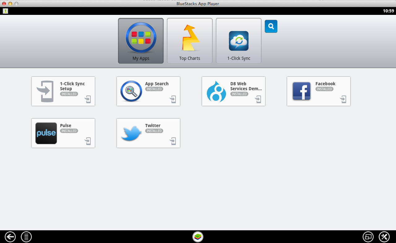 BlueStacks dashboard, showing a Drupal 8 icon on our custom app.