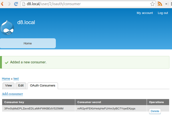 In OAuth module we can create credentials per Drupal user.