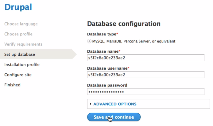 Database configuration defaults look random, but are setup by simplytest.me to have the right values.