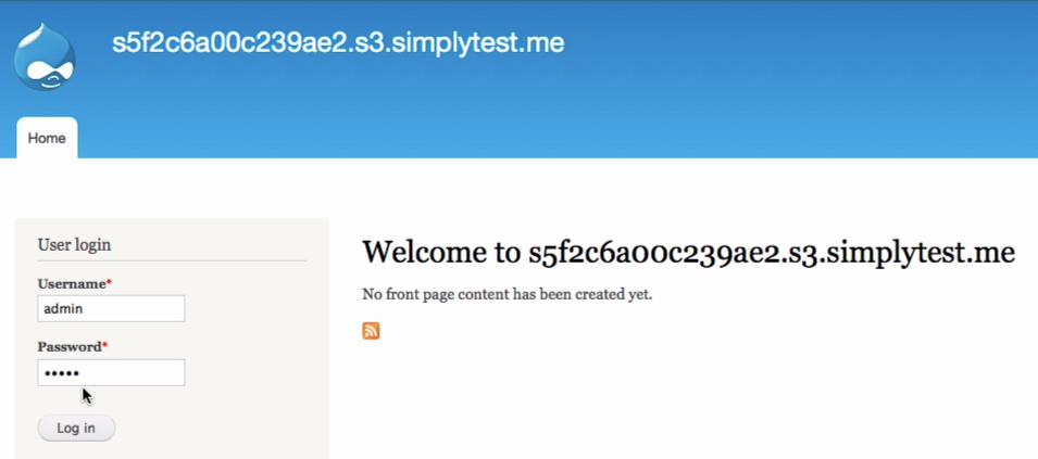 To log into your Drupal site, enter the username and password you established in Step 9