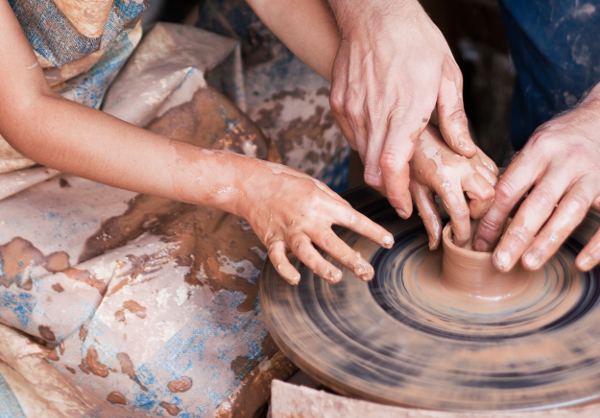 Pottery on wheel