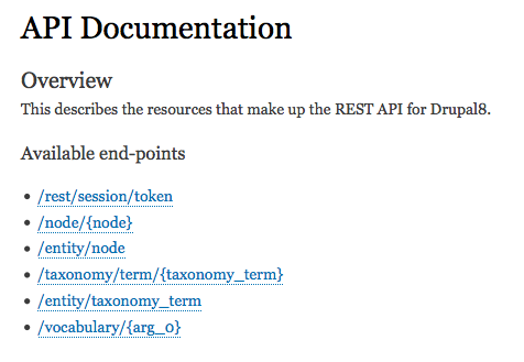 API Documentation Overview / List of End-points