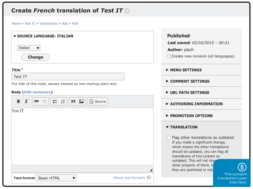 The content translation user interface.